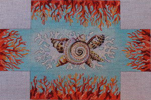 Seashell/Coral Brick Cover - BeStitched Needlepoint