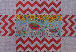 Whimsy Elephants Brick Cover - BeStitched Needlepoint