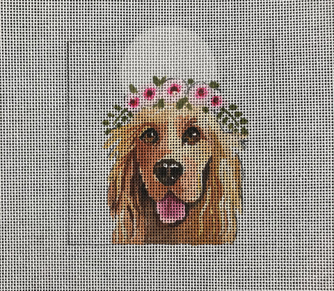 Golden Retriever with Floral Crown