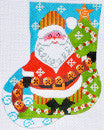 Jingle Bell Santa Mini Stocking - BeStitched Needlepoint
