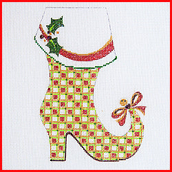 Mrs. Claus boot w/ bow on toe