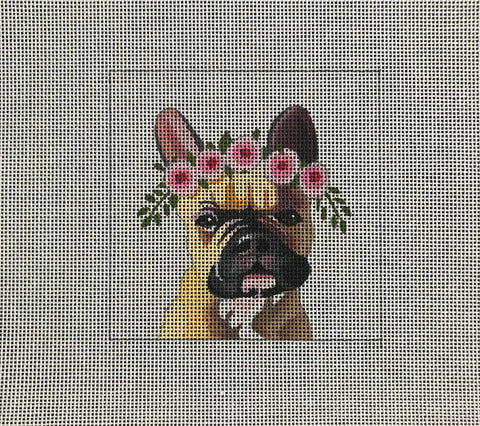 French Bulldog with Floral Crown