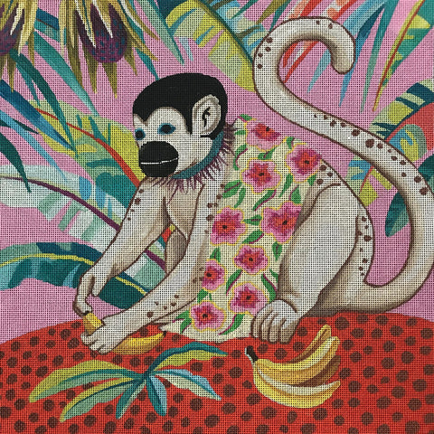White Monkey with Banana