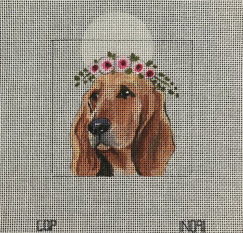 Bloodhound with Floral Crown