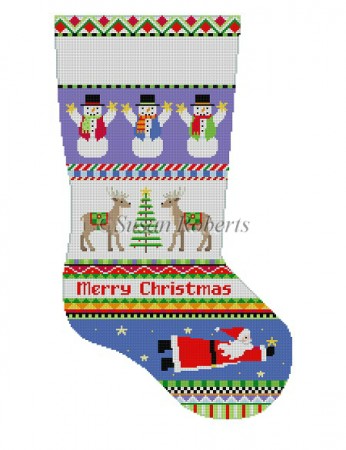 Bold Stripe Reindeer & Flying Santa, stocking 3212