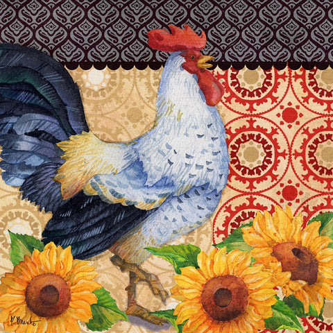 Roosters and Sunflowers III