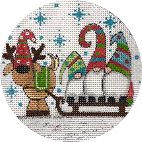 Gnomes on Sled Ornament