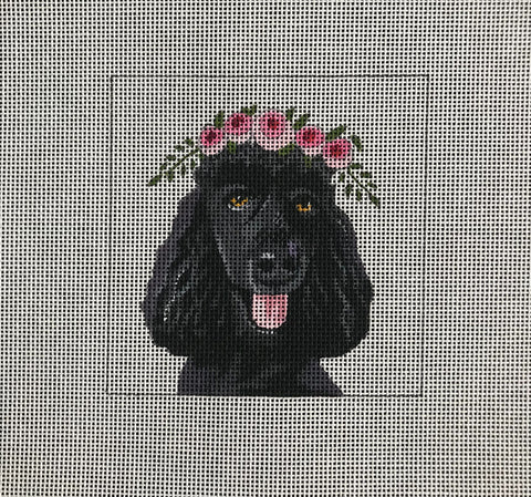 Black Poodle with Floral Crown