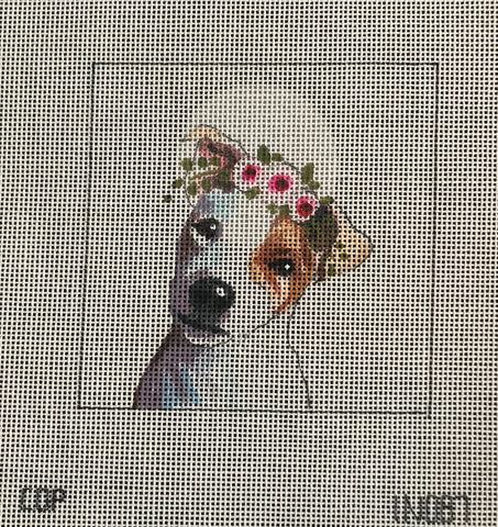 Jack Russell with Floral Crown