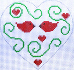 Heart - Red Birds with stitch guide