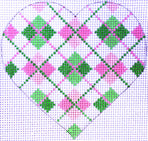 Heart - Pink/Grn Argyle with stitch guide