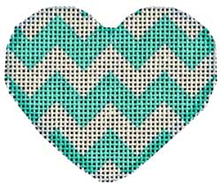 Aqua Chevron Mini Heart