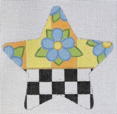 HO1958 - CHECKED BLUE FLOWER STAR