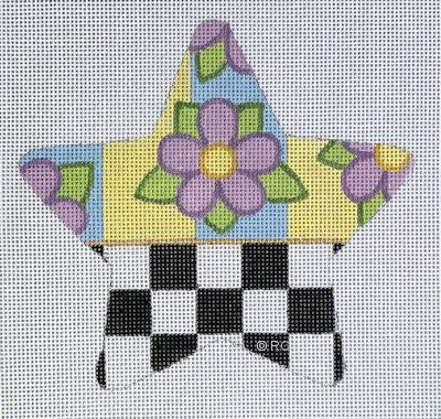HO1960 - CHECKED LAVENDER FLOWER STAR