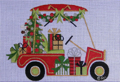 Christmas Golf Cart - BeStitched Needlepoint