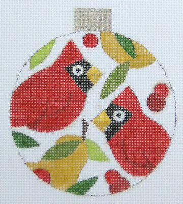Cardinal/Pears Ornament - BeStitched Needlepoint