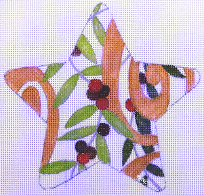 Berry Swirl Star - BeStitched Needlepoint