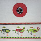 Birds (red) Round Hinged Box w/Hardware