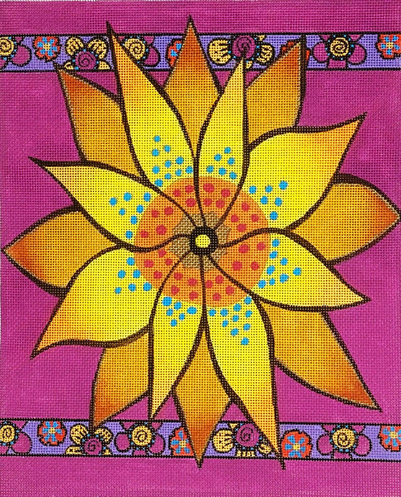 LB-149 - Yellow Flower with Purple Borders