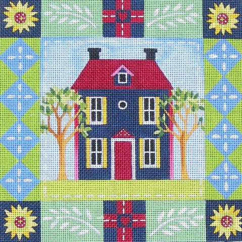 Blue House - BeStitched Needlepoint