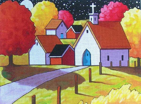 Church Night Path - BeStitched Needlepoint