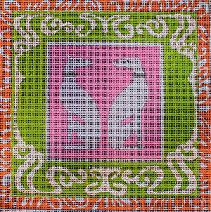 Art Nouveau White Whippets - BeStitched Needlepoint