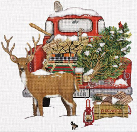 Red Snow Truck w/Deer