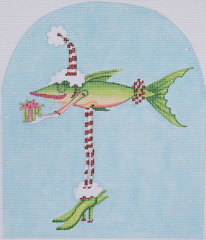 Christmas Fish in Heels - BeStitched Needlepoint