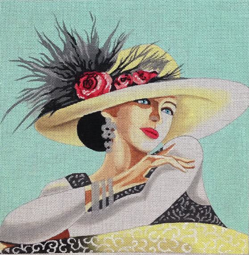 Elegant Lady in Hat - BeStitched Needlepoint