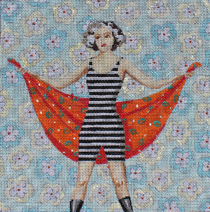 Vintage Beach Lady - BeStitched Needlepoint
