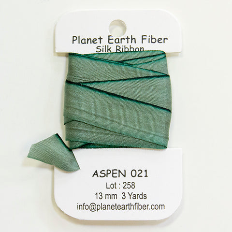Planet Earth Hand Painted Silk Ribbon - 13mm