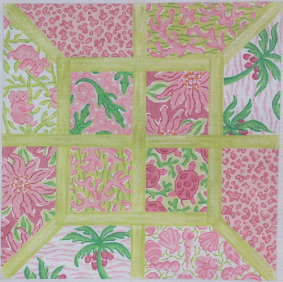 Large Squares Lily Inspired Lattice Patchwork Pinks & Greens