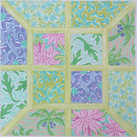 Large Squares Lily Inspired Lattice Patchwork Blues & Greens