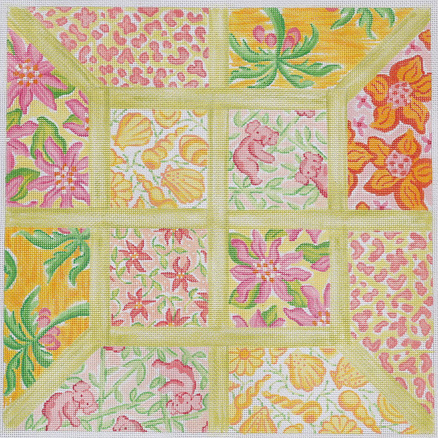 Large Squares Lily Inspired Lattice Patchwork Yellows & Greens