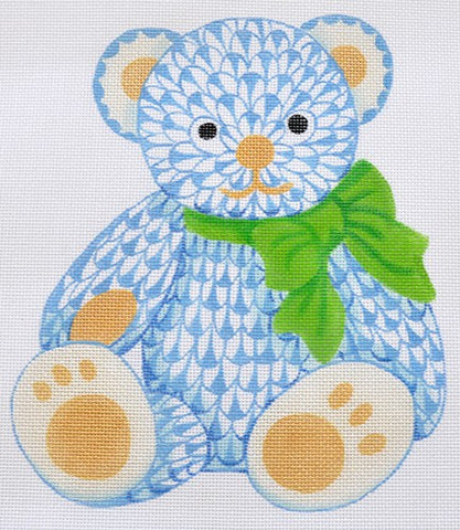 Herend Inspired Fishnet Teddy Bear - Blues w/ Greens & Gold
