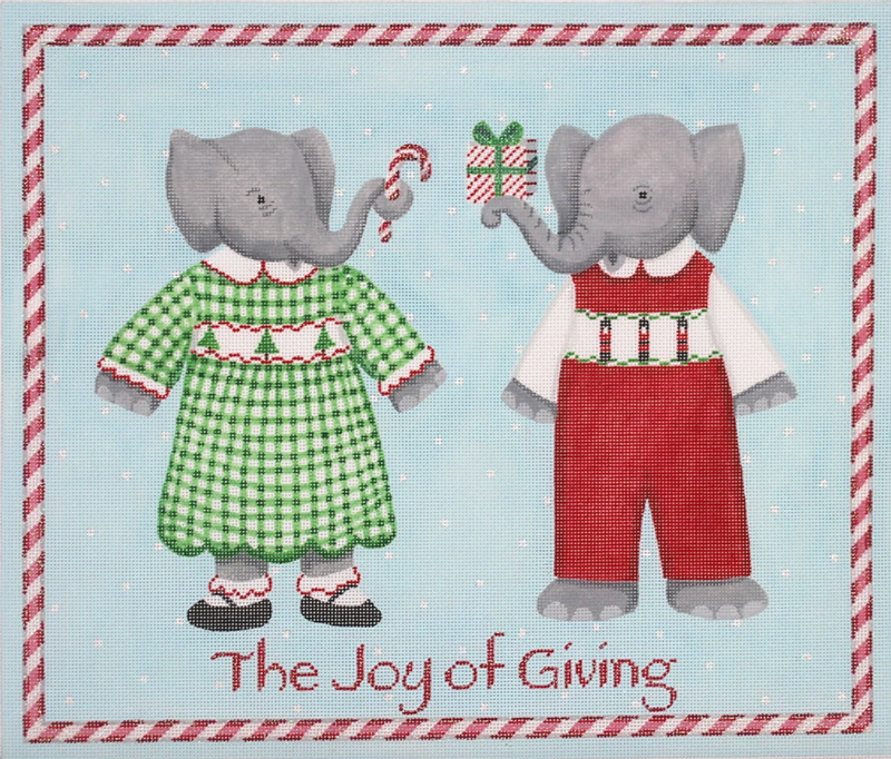 "KR-PL-07 - Kelly Rightsell – ""The Joy of Giving"" 2 Elephants with Candy Cane Border"