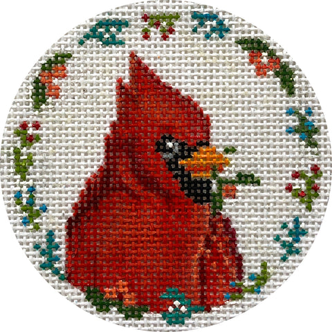 Cardinal with Flowers Ornament