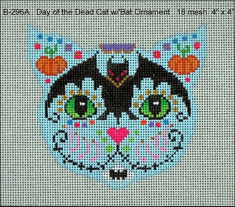 Day of the Dead Cat Ornament w/Bat