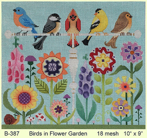 Birds in Flower Garden