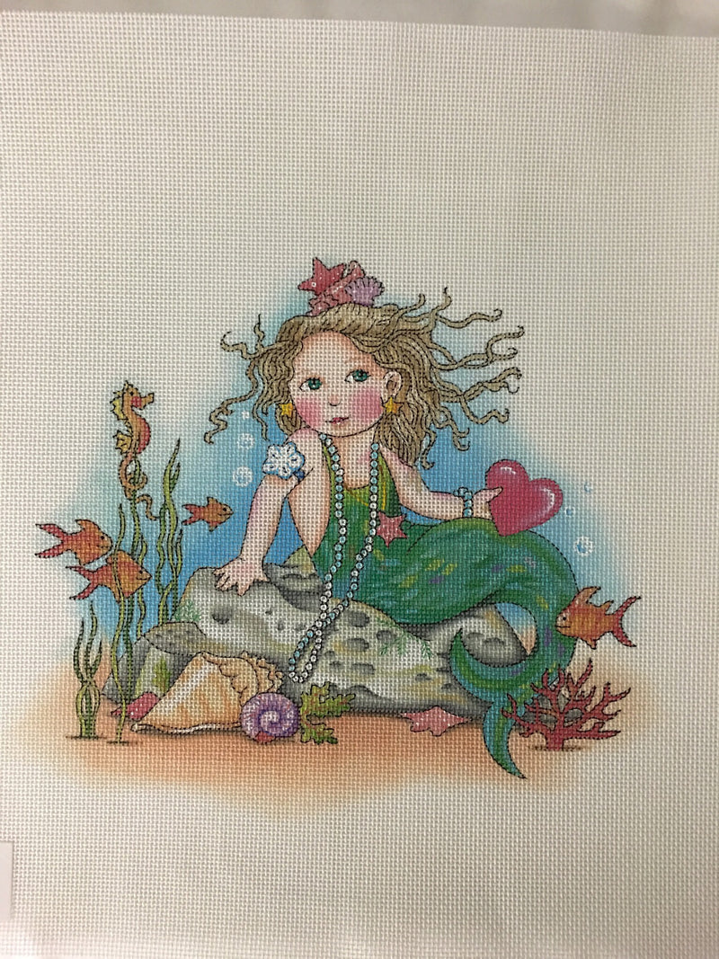 Heart Mermaid - BeStitched Needlepoint