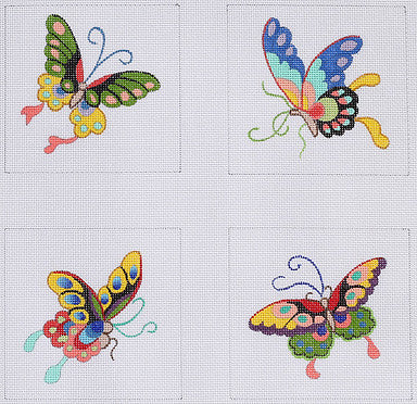 Coasters - Chinese Butterflies - BeStitched Needlepoint