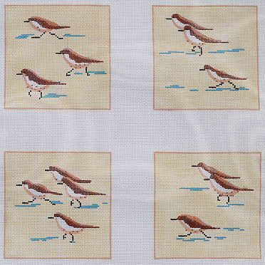 Coasters - Sandpipers on Beach - BeStitched Needlepoint