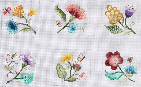 Coasters - Jacobean Flowers - BeStitched Needlepoint