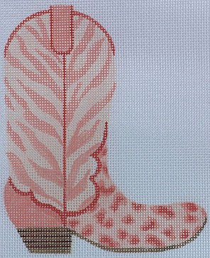 Cowgirl Boot-Coral Cheetah & Zebra (right) - BeStitched Needlepoint