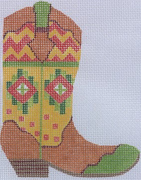 Cowgirl Boot- Zig Zag Southwestern (right) - BeStitched Needlepoint
