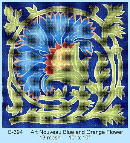 Art Nouveau Blue and Orange Flower