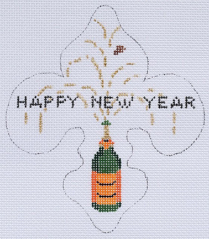 """Happy New Year"" Fleur-de-Lys - BeStitched Needlepoint"
