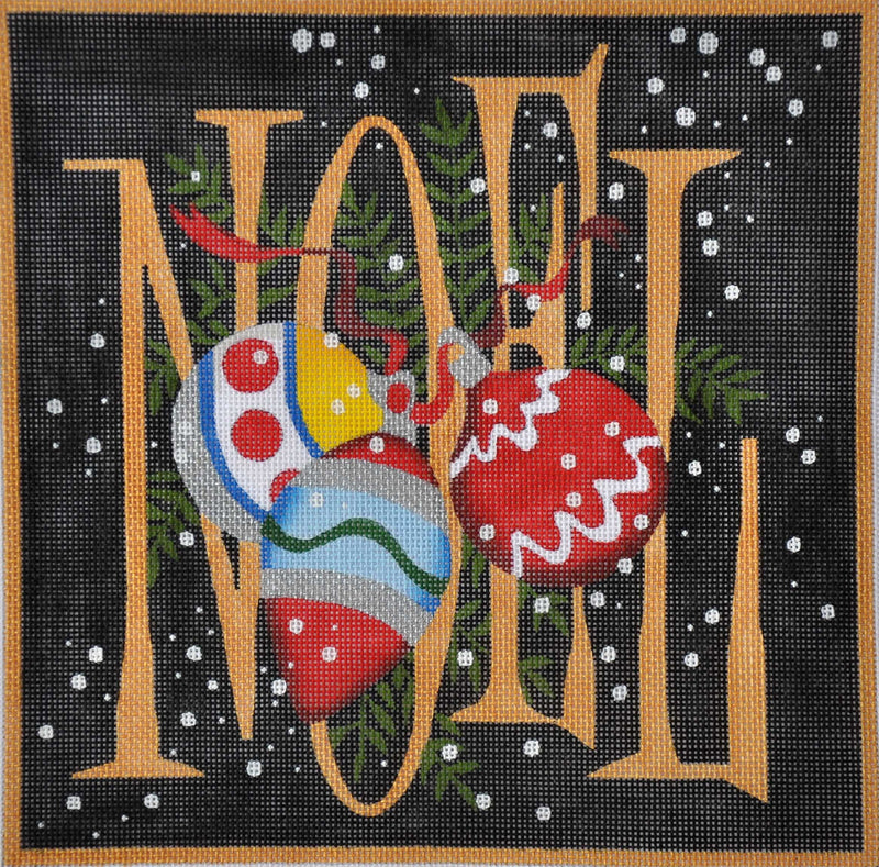 Black Noel Ornaments - BeStitched Needlepoint