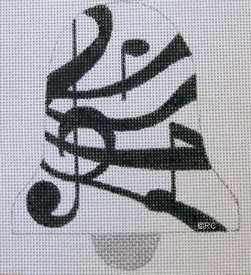 Black Music Bell - BeStitched Needlepoint