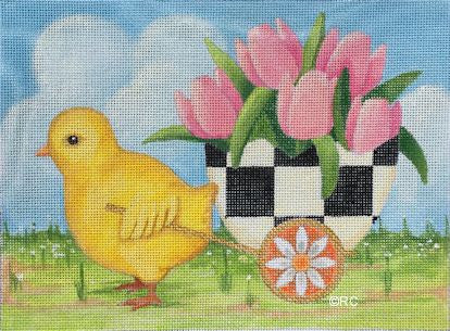 Chick Pulling Checkered Egg Basket